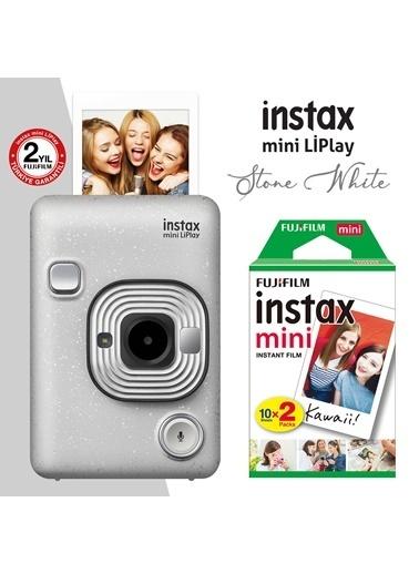 Fujifilm Fujifilm instax mini LiPlay Hybrid Stone White Fotoğraf Makinesi 20li mini Film Beyaz
